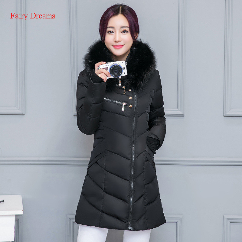 Fairy Dreams Womens Jacket Warm Winter Coat Made Of Goose Feather Down Parka Zipper Fur Hooded Plus Size Clothes 2017 New Style