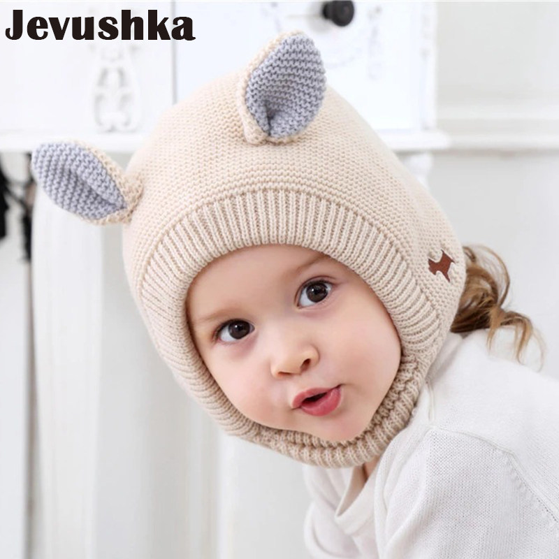 Winter Knit Girls and Boys Hat with Warm Fleece Lining Cute Ears Hats for Kids  Baby 91782ec09263