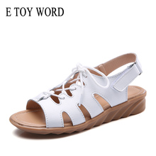 E TOY WORD 2019 Summer women sandals fashion leather Lace Up Flat Heel Sandals Ladies Casual Summer Shoes Women Beach Sandals women new design white leather lace up mix color ball design thick heel sandals gladiator sandals ladies beach sandals