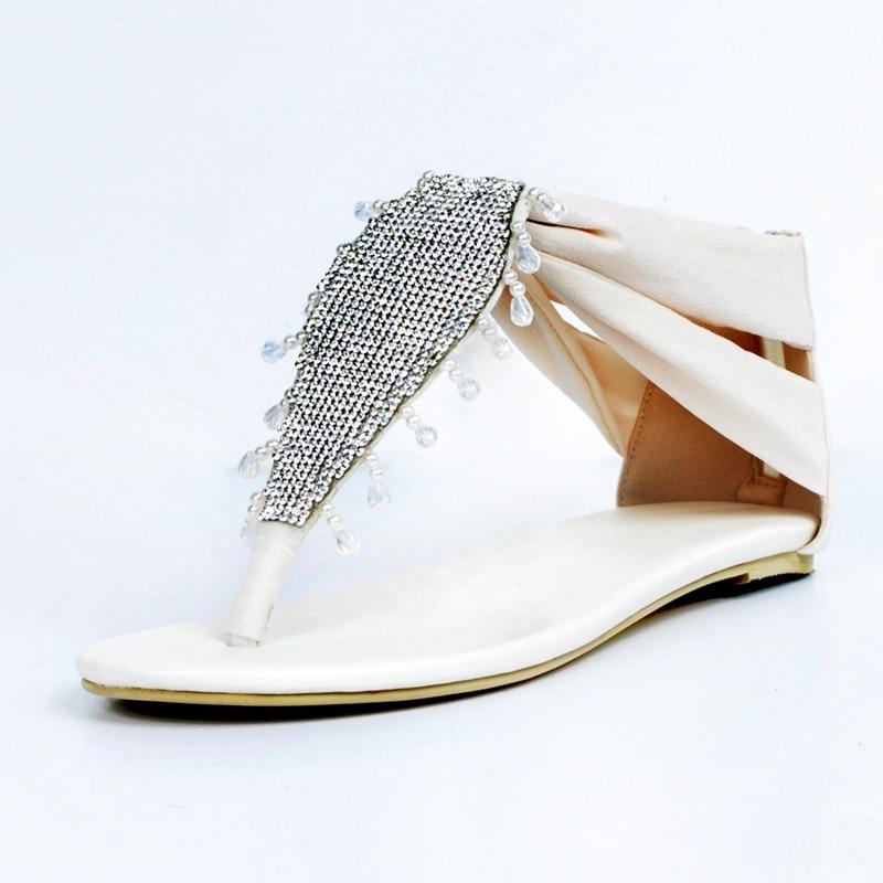 Ivory Flat Heel Women Sandals Flip Flops Summer Shoes Women Beadings Crystals Designer Shoes Women Luxury 2017 Flat Sandals ichi ichi 100965 12277