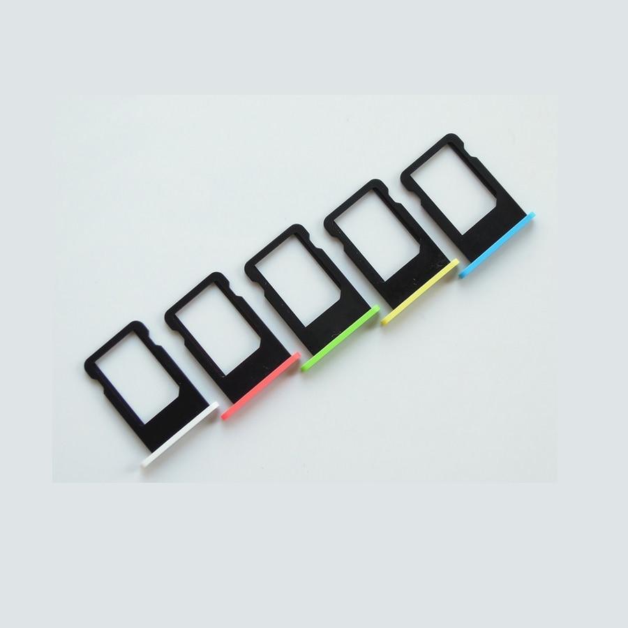 imágenes para 100 unids/lote original sim card holder bandeja de la ranura para el iphone 5c amarillo verde azul blanco rosa adaptadores de tarjetas sim piezas de repuesto