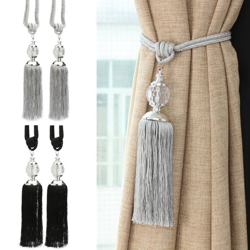 Crystal Curtain Beads Polyester Tassel Tieback Curtain 2pcs/Pair Hanging Ball &Tassel Bedroom Livingroom Curtain Decor