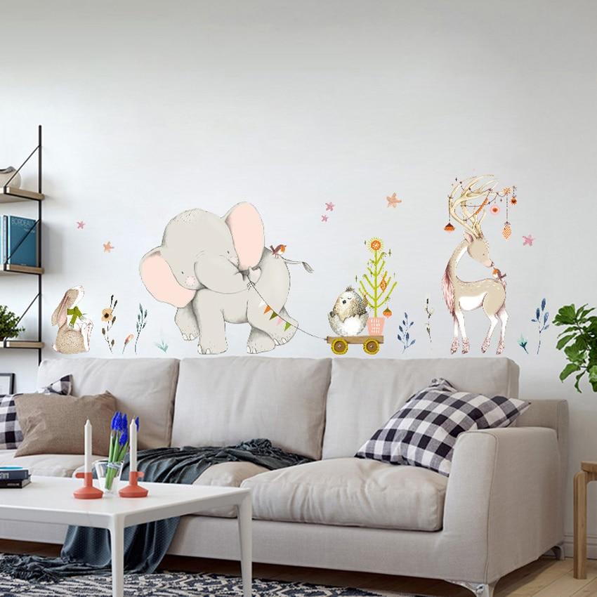 Cartoon Forest Flowe Elefante Coniglio Giraffe Animal Wall Stickers ...