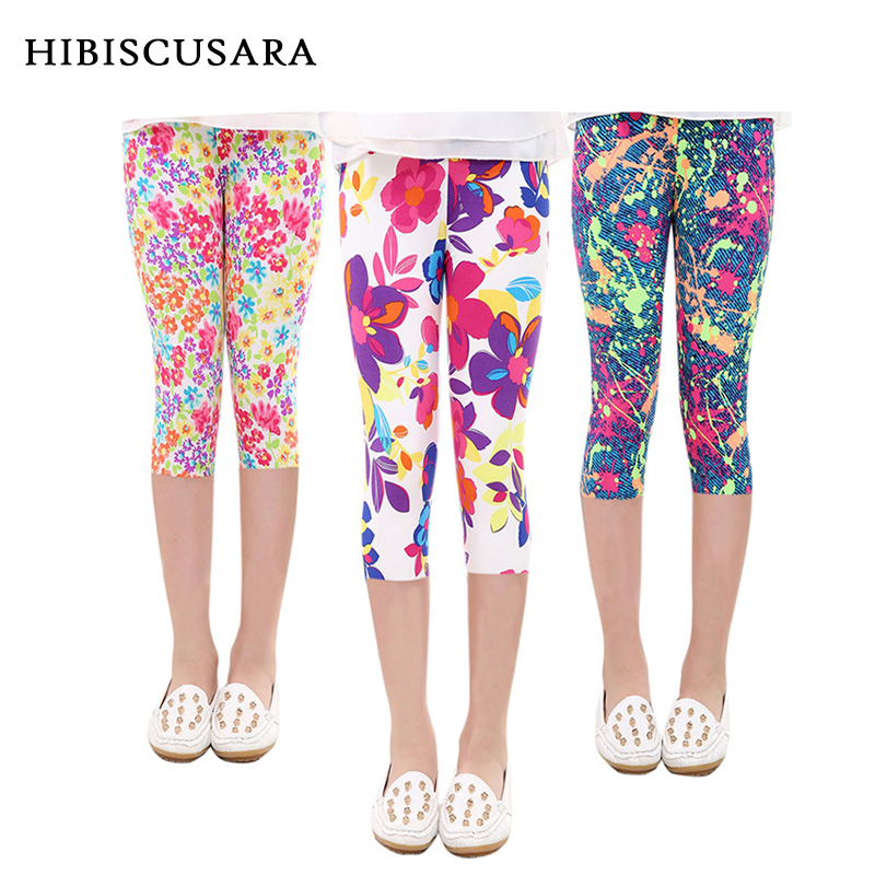 3-10years Girls Cropped Trousers Floral Print Flower Kids Calf Length Skinny Pants Stretch Leggings Children All-matches Bottoms 1