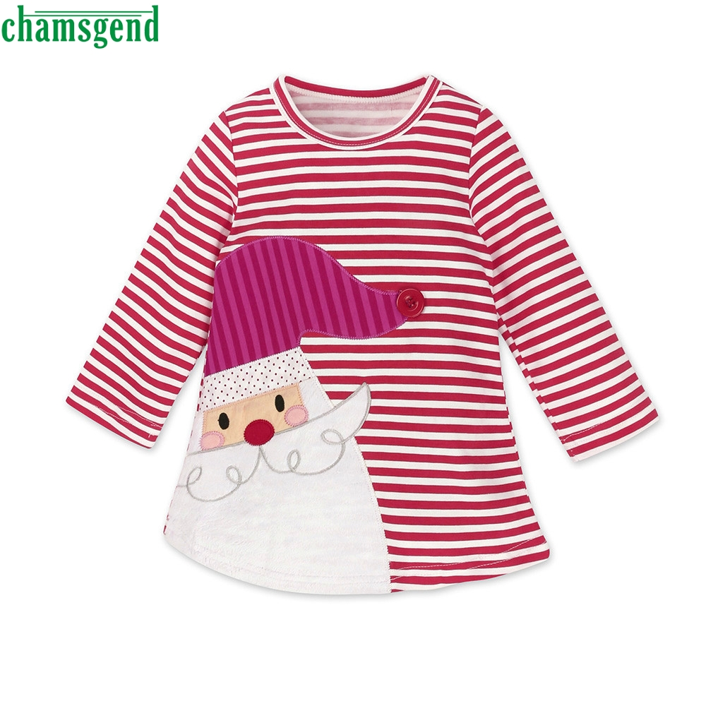 CHAMSGEND Fashion Red Toddler Kids Baby Girls Santa Striped Cotton Full O-Neck rincess Dress Christmas Outfits Clothes ag16 P30
