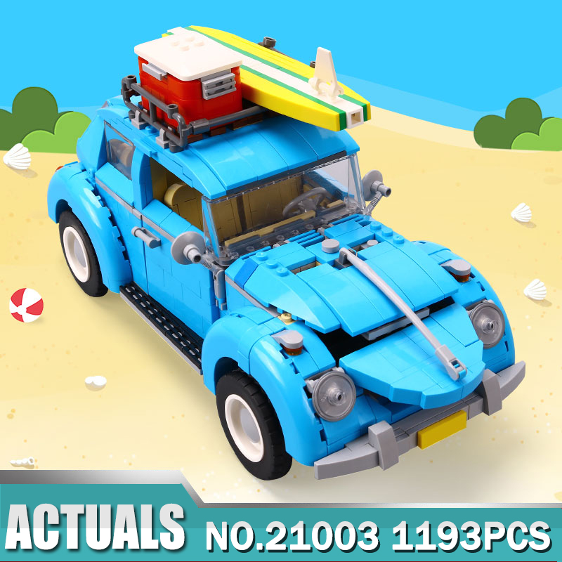 Lepin 21003 City Car Beetle Model Building Blocks Bricks Blue Car Toy Kid Gift Set 10252 Compatible LegoING Technic Model decool city creator mini car vw beetle model building blocks figure toys for children fit lego lepin lps technic minifigure