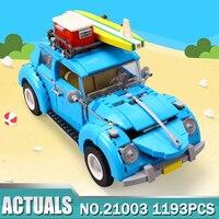 2016 LEPIN 21003 Creator Series City Car Volkswagen Beetle Model Building Blocks Compatible Blue Technic Car
