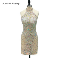 Sexy See Through Champagne Short Cocktail Dresses 2018 with Rhinestone Mini Party Prom Gowns with High Neck vestidos de coctel