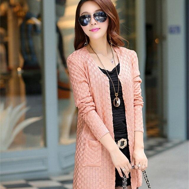 Long Autumn Cardigan With Pockets Female Long Sleeve Feminino Tops 4