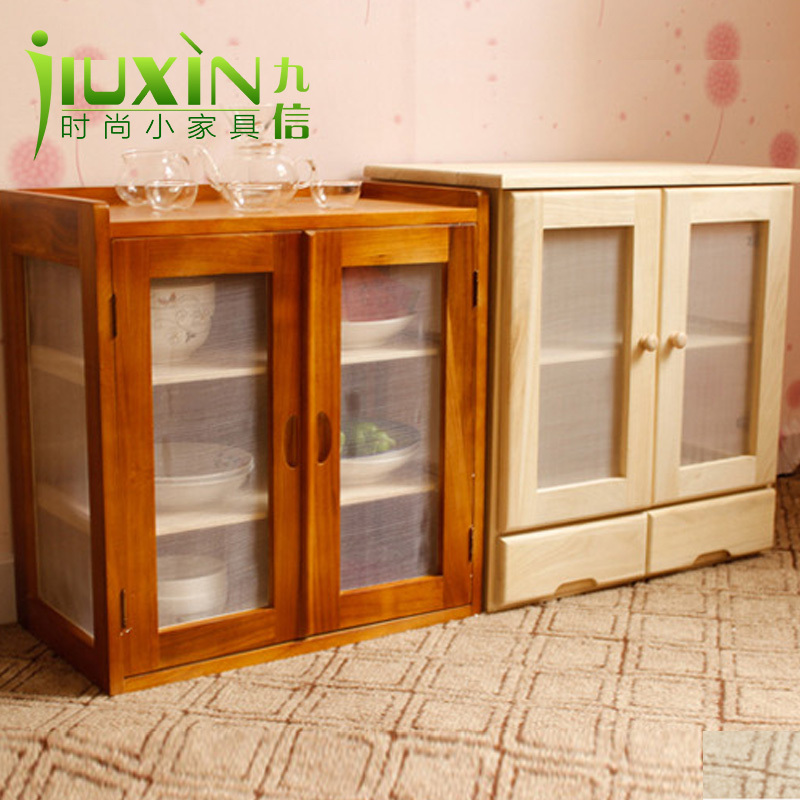 Foreign wood cupboard cupboard simple fruit dish cabinet kitchen ...