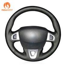 MEWANT czarna sztuczna skórzana osłona na kierownicę do samochodu Renault Megane 3 Scenic 3 (Grand Scenic) Kangoo 2 Fluence (ZE) SM3
