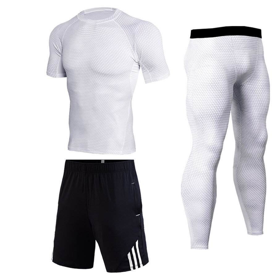 Summer Men's Tracksuit Compression MMA Men's Sportswear Set Gym Jogging Quick-drying Wicking Sports Suit Training Rashgard Kit