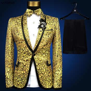 Gold Suit Lastest Coat Pant Design Pus Size 4xl 5xl 6xl Costume Homme Wedding Suits for Men Stage Suit Tuxedo Gold Silver Blue - DISCOUNT ITEM  34% OFF All Category
