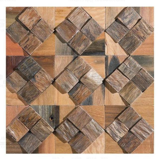 Square Log Wood Old Ship Wall Tile Wooden Mosaic Tiles For Bedroom Living Room Dining