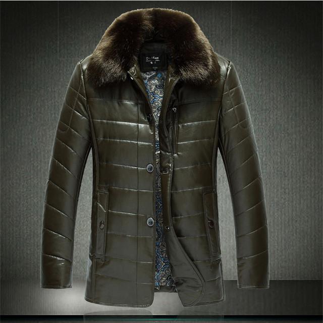 AYUNSUE Men's Winter Jacket Raccoon Fur Collar Man Coat Mens Jackets Waterproof Jacket Men Leather Coat 9XL Abrigo Hombre WXF452