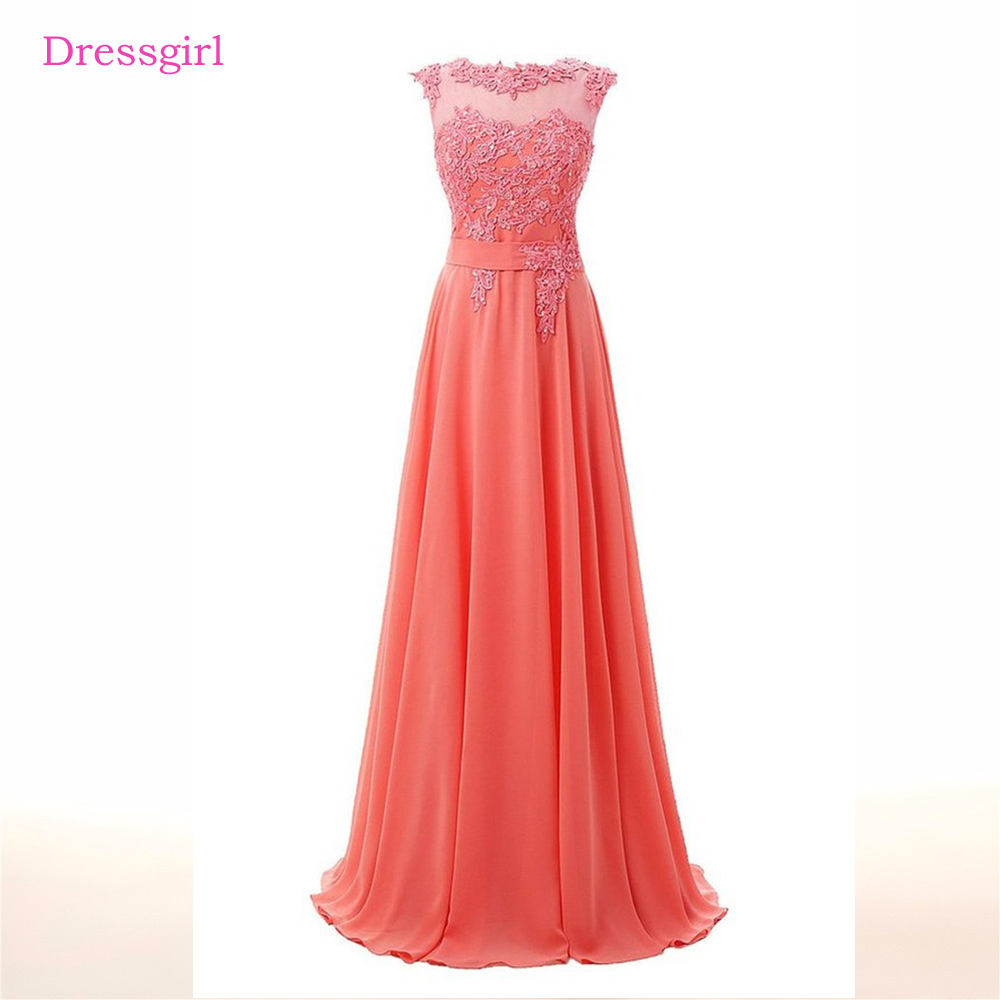 Coral Evening Dresses 2018 A-line S Chiffon Lace Beaded Backless ...