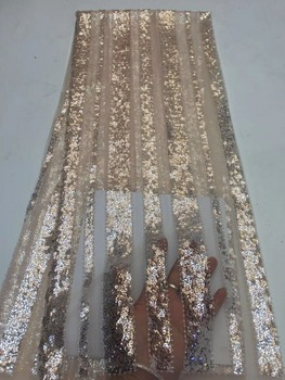 New Design African Lace Fabrics High Quality French Lace Fabric For Party Dress Nigerian Sequins Lace Fabric  ZXN122