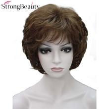 Сильный Красота дамы Искусственные парики короткие волнистые Золотой светлые волосы для Для женщин синтетические монолитным полный парик 16 Цвета