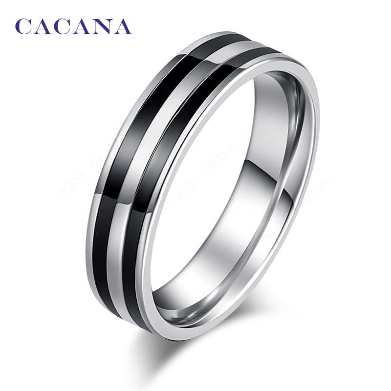 CACANA  Stainless Steel Rings For Women Double Loop Ceramic Mosaic  Fashion Jewelry Wholesale NO.R178 179