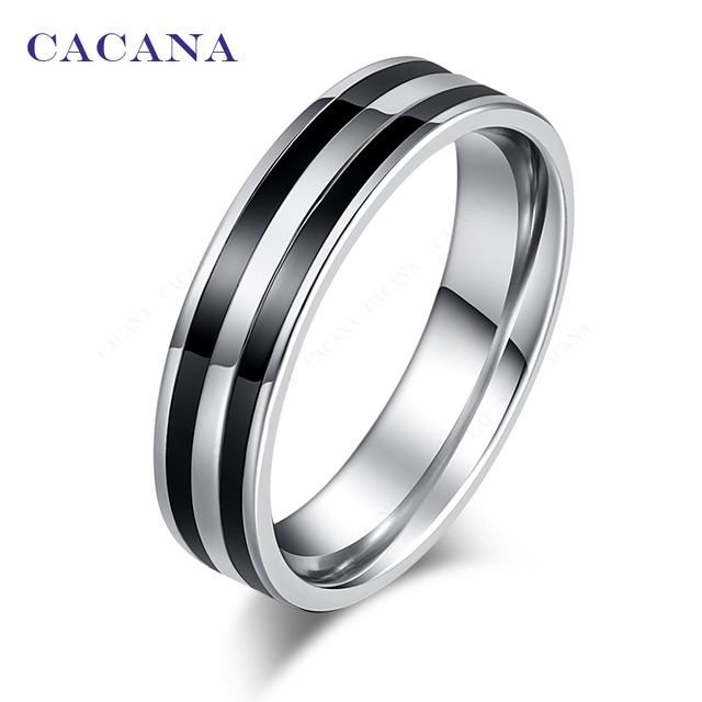 CACANA Titanium Stainless Steel Rings For Women Double Loop Ceramic Mosaic Fashi