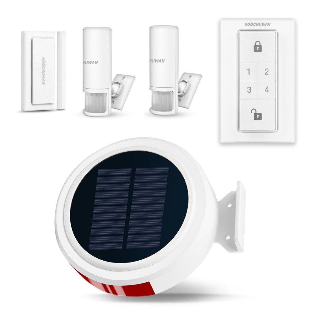 Système d'alarme GSM à énergie solaire KOOCHUWAH avec sirène d'alarme à capteur de mouvement PIR pour le son de la voiture et la batterie Rechargeable d'alarme Flash