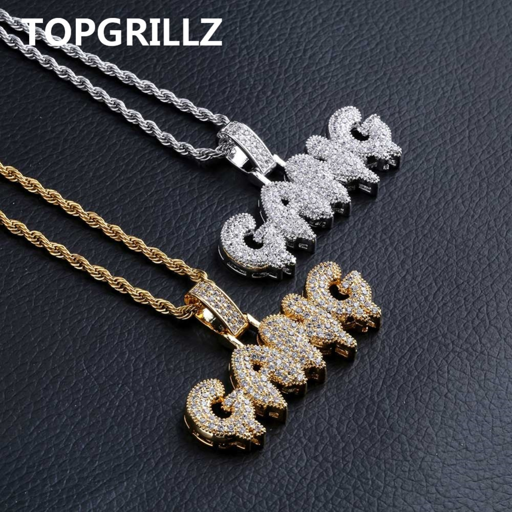 TOPGRILLZ Iced Out Cubic Zircon Bling Bubble Letters GANG Pendant Necklace Men Women Hip Hop Gold Silver Color CZ Necklace Gifts