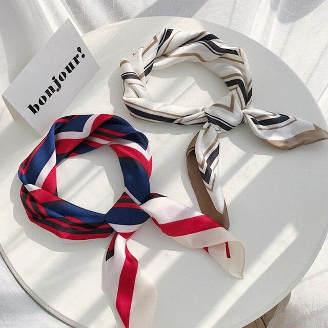 2019 летний квадратный шарф для женщин чешские этнические лента с принтом Тощий шифоновые шарфы женский шифон Шелковый Полосатый 70*70 см