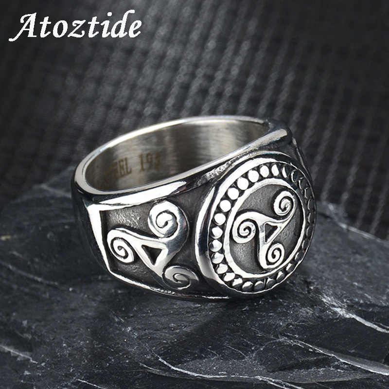Atoztide Punk Stainless Steel Teen Wolf Rings For Men Black Vintage Movie Triskele Signet Finger Rings Wedding Band Fans Gift