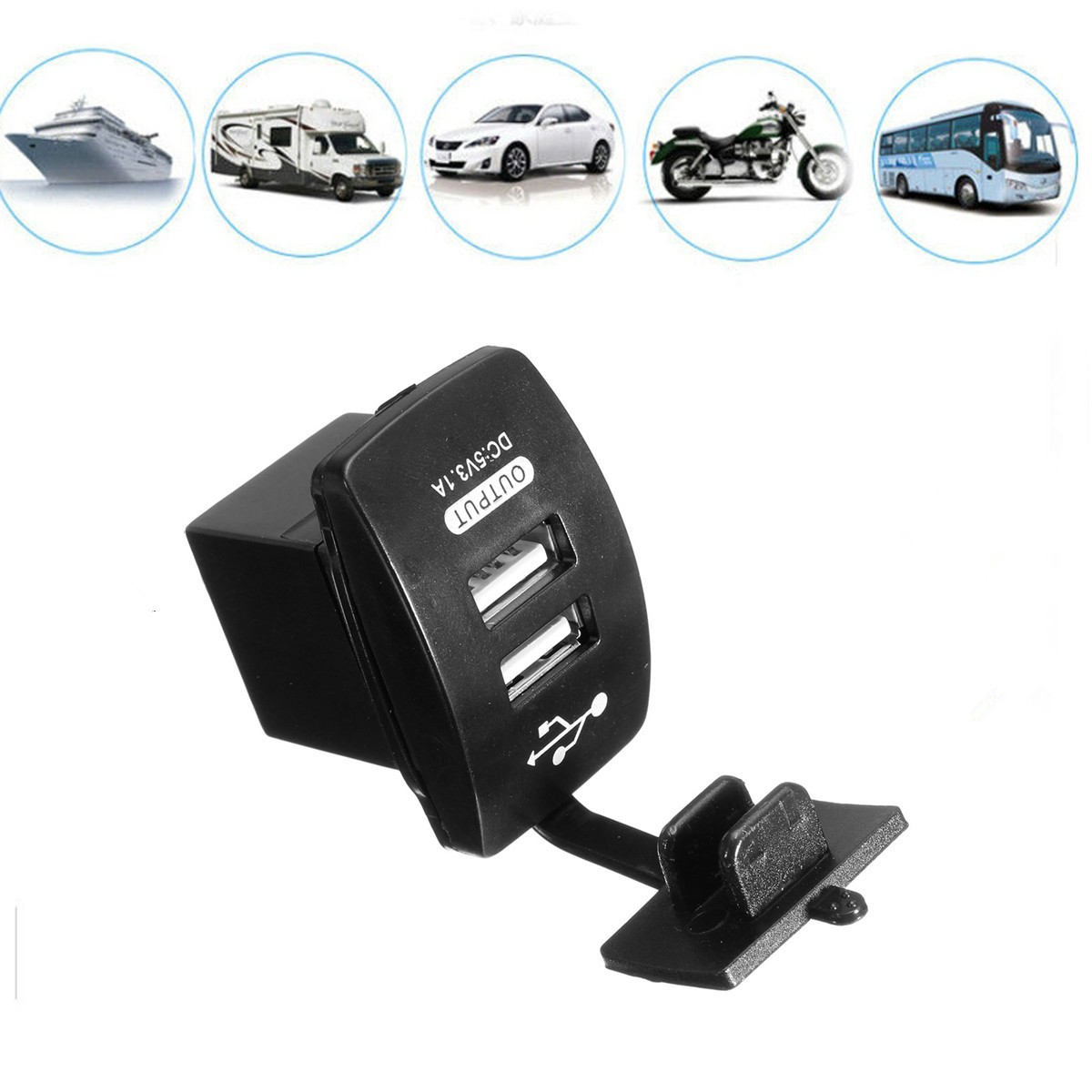 Dual Car Cigarette Lighter Socket Charger Power Adapter USB Splitter 12V Travel For Motorbike/ Boat/ Caravans