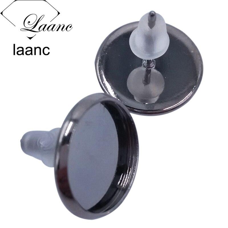 Bulk 500piece Silver/Gunmetal Black/Antique Bronze/Rhodium/Rose Gold Colors Stud Post Earrings Blank Bezel Rubber Stopper Backs