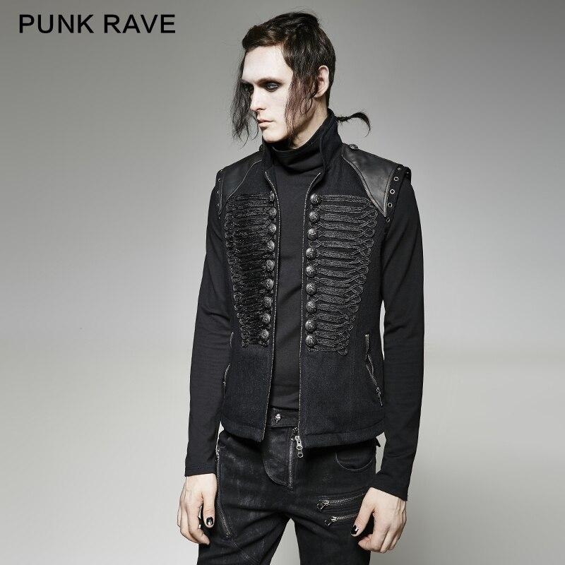 Punk Rave gothique Punk Rock noir mode militaire uniforme Style noir foncé hommes gilet sans manches manteau gilet hommes veste d'hiver