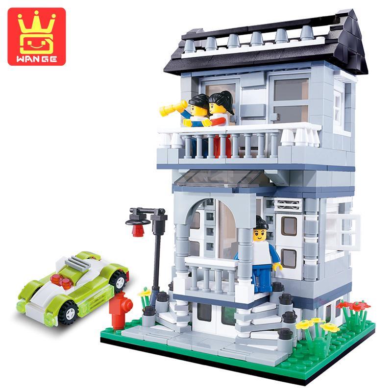 WANGE Villa Blocks House Series 480Pcs Classic Teaching Building Bricks Toys Collectible For Children Birthday Gifts
