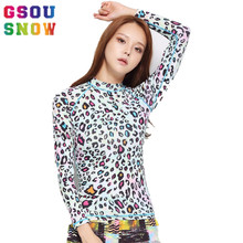 Gsou Snow Women Surfing Shirts Long Sleeve Quick Dry Rash Guards Tops Beach Sunscreen Leopard Printed Triathlon Swimwear Shirts(China)