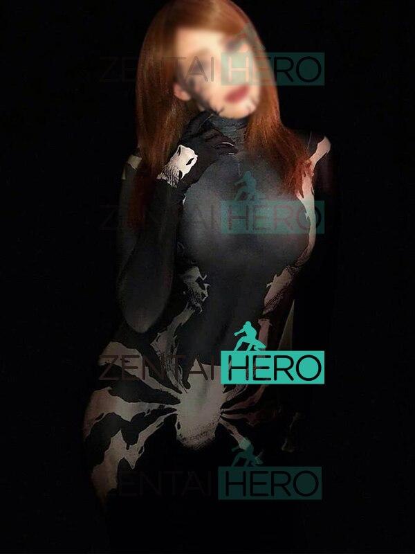 3D diseño de impresión simbionte veneno MJ el lunes Spider traje de hombre Spidergirl Cosplay traje Zentai traje de Halloween - 2