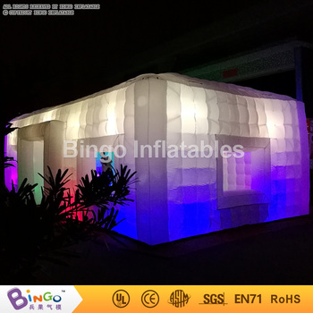 Free Shipping 31ft LED lighting inflatable giant cube tent customized cloth material 16 colors change blow up tent for toy tents