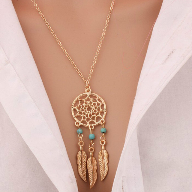 European And American Fashion Dreamcatcher Feather Necklace Pendant Jewelry Whol