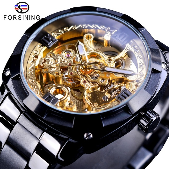 Forsining Retro Classic Royal Design Golden Skeleton Black Steel Transparent Mens Automatic Mechanical Watches Top Brand Luxury