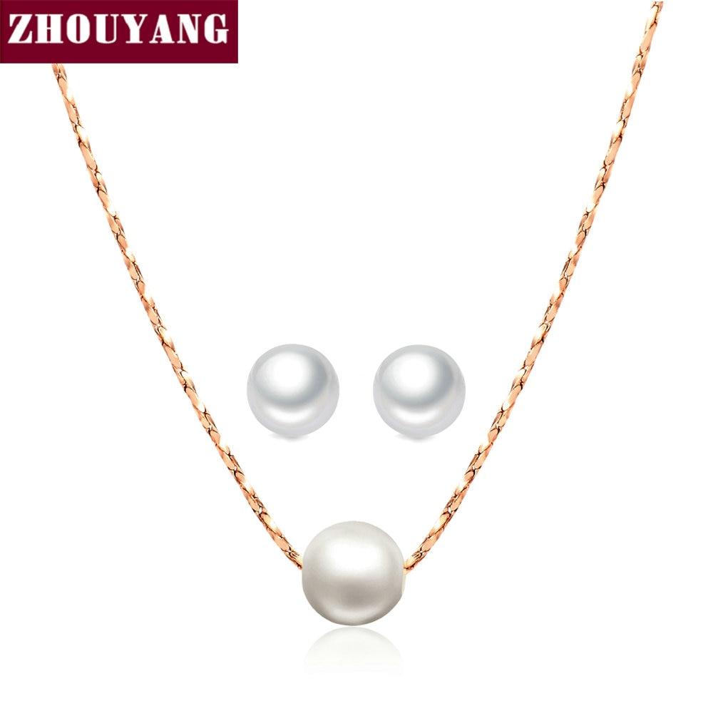 بسيط OL سيدة نمط تقليد لؤلؤة روز لون الذهب والمجوهرات قلادة القرط مجموعة للنساء بالجملة ZYS358