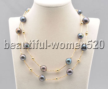 Z8839 14mm Black Round Edison Keshi Pearl Bead Necklace 35inch