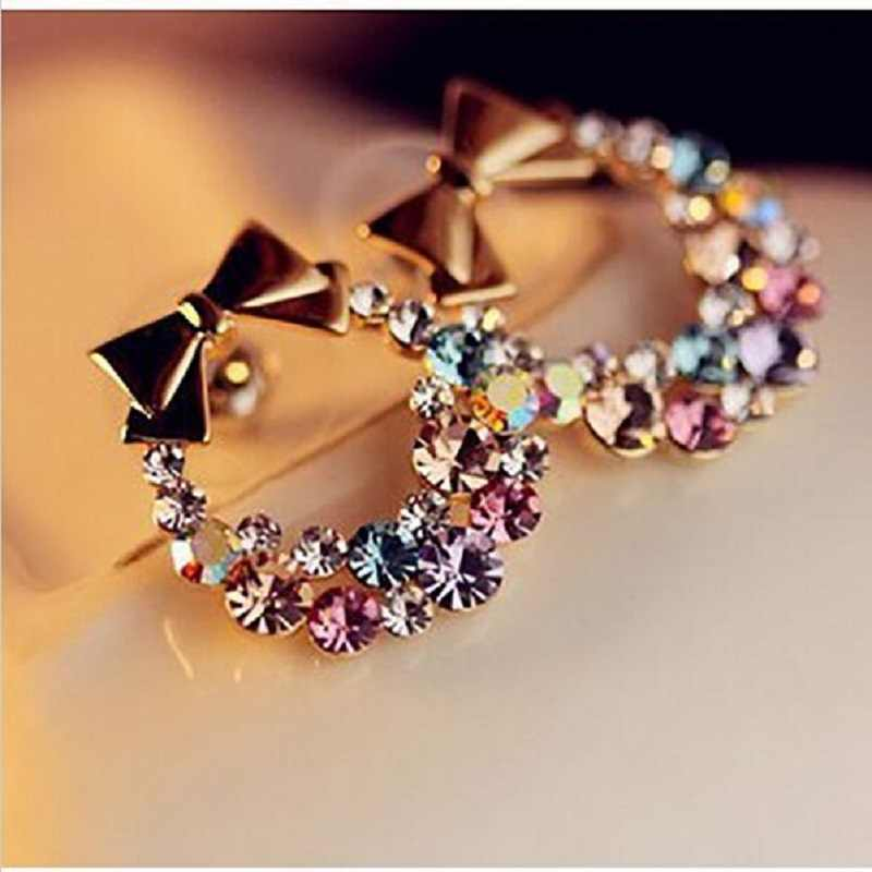 Wanita Imitasi Colorful Rhinestone Ikatan Simpul Stud Earrings Emas Kristal Cubic Zirconia Bow Anting-Anting Fashion Wanita Perhiasan Antik