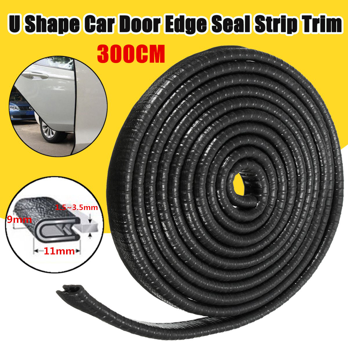 Autoleader 300cm U Shape Car Door Side Weather Seal Strip Sealing Guard Mold Trim Universal 10ft Rubber Sealant For 1.5-3.5mm