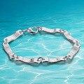 La llegada de la última moda de joyería esterlina del sólido 925 pulsera de plata masculina, moda hombre 14g pulsera de cadena de 19 cm de largo