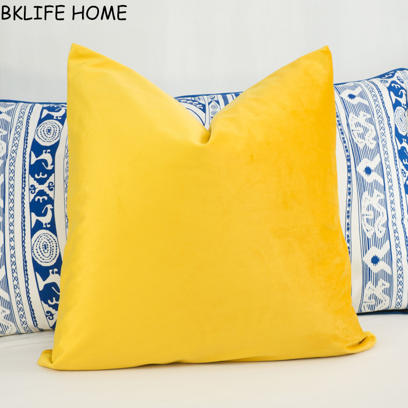 High Quality Soft Bright Yellow Velvet Cushion Cover Pillow Case Yellow Pillow Cover No Balling-up Without Stuffing