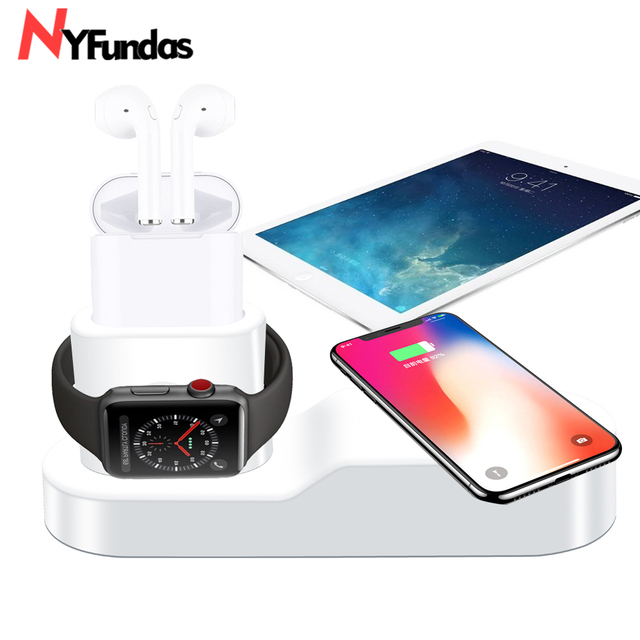 NYFundas Qi Wireless Charger stand holder For Apple Watch 2 3 4 Airpods iphone XS MAX XR 8 plus X iwatch fast station induction