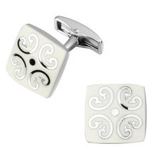 High quality fashion men s shirts Cufflinks White Enamel Cufflinks square pattern clouds brass material wholesale