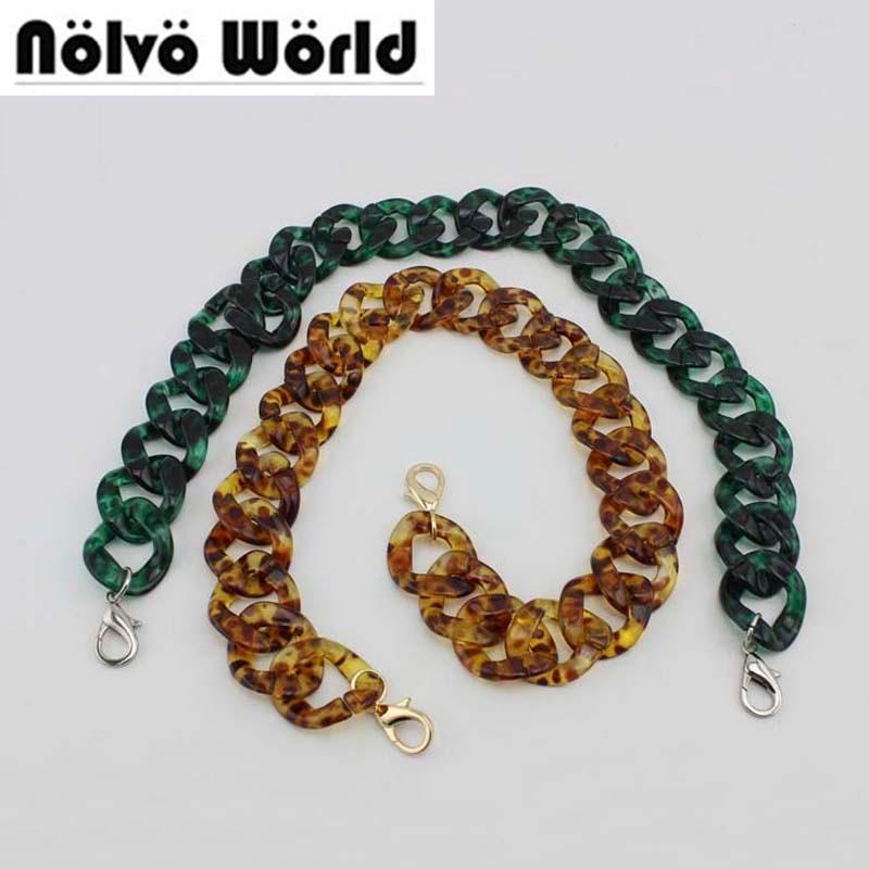 1pc 3.25cm Wide 60cm 120cm 180cm Fashion Leopard Green Chain Acrylic Plastic Chain For Girls Bag Clutch Resin Bag Strap