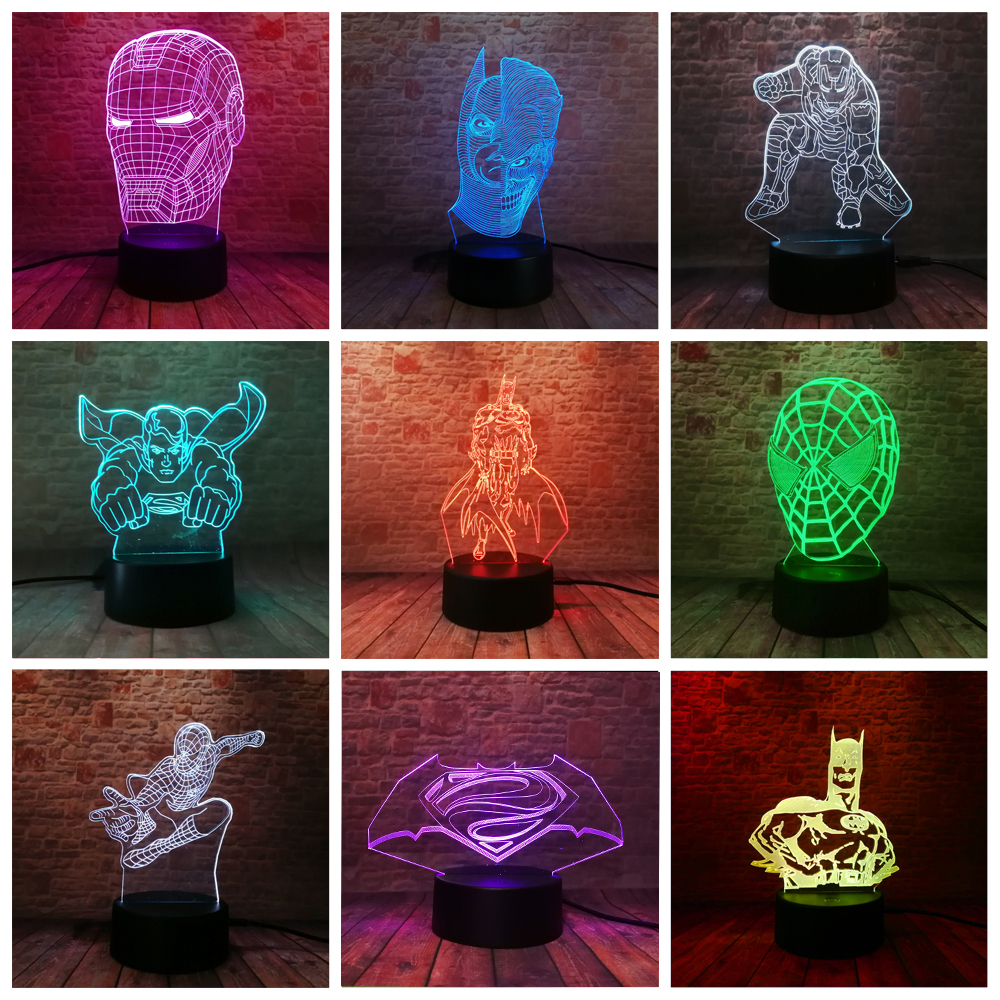2018 Super Hero Spider iron man 3D LED lamp night light Multicolor RGB Bulb Christmas Decorative Gift Cartoon Toys Luminaria2018 Super Hero Spider iron man 3D LED lamp night light Multicolor RGB Bulb Christmas Decorative Gift Cartoon Toys Luminaria