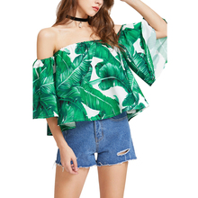 FCCEXIO 2017 New Women's Summer Green Blouse Ruffles Shirts Off Shoulder Tops Palm Leaf Tropical Print Tops Blusas Female