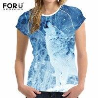 FORUDESIGNS 2018 Fashion Women T Shirt 3D Wolf Design T Shirt Woman Short Sleeved Cool Tops