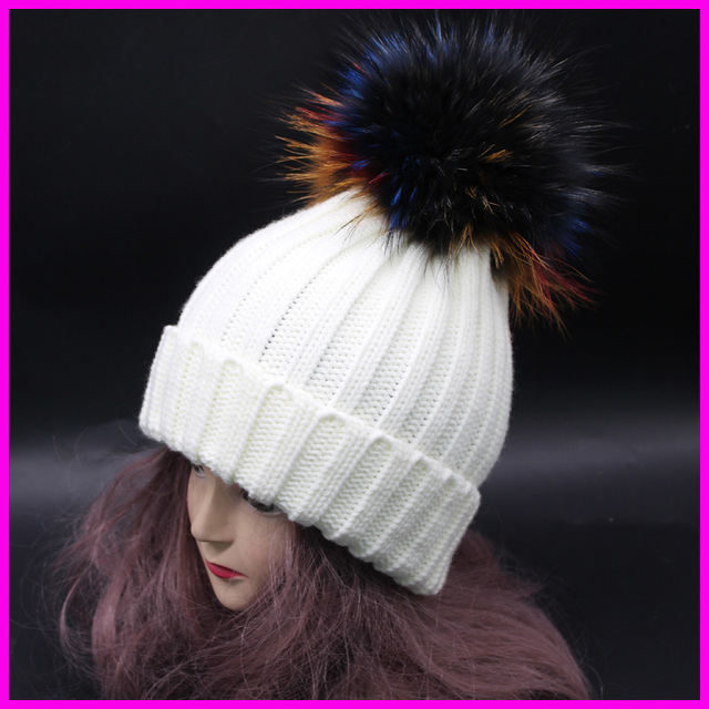 2016 Real Patchwork Adult Casual Mink Fur Hat Women Winter Touca Beanie Warm Thick Knitted Raccoon Pom Bobble Hats Gorro